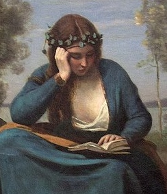 Detail of painting by Corot, of woman reading